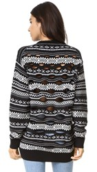 Alexander Wang Fair Isle Pullover With Burnout Panel Jet