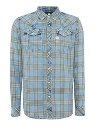 G Star Tacoma Long Sleeve Check Flannel Shirt Light Green