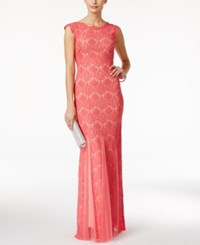 Betsy And Adam Petite Cap Sleeve Lace Gown Rose Nude