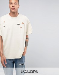Reclaimed Vintage Oversized T Shirt In Overdye And Distressing New Stone