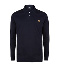 Paul Smith Ps By Long Sleeve Zebra Polo Top Male Navy
