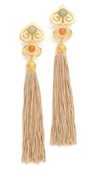Ben Amun Tassel Earrings Beige