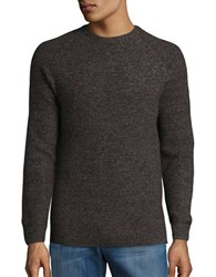 Ben Sherman Marled Knit Ribbed Crewneck Sweater Chocolate Brown
