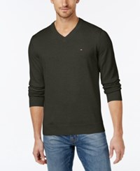 Tommy Hilfiger Men's Big And Tall Signature Solid V Neck Sweater Rosin