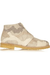 Stella Mccartney Camouflage Print Canvas Ankle Boots Nude