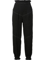 Chloe Smocked Cropped Trousers Blue