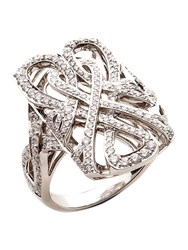 Biba White Gold And Diamond Logo Filigree Ring Silver