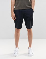 Asos Long Length Smart Shorts In Navy With Pinstripe Navy