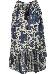 Derek Lam 10 Crosby Tasseled Floral Blouse Blue