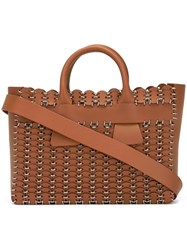 Paco Rabanne Woven Tote Bag Brown