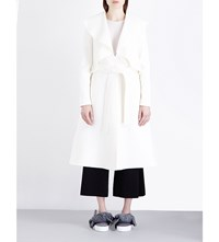 Goen J Ruffled Wool Coat Ivory