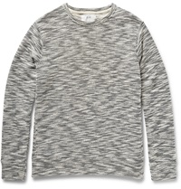 Billy Reid Benji Melange Knitted Cotton Blend Sweatshirt Gray