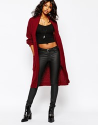 Boohoo Chunky Knit Long Line Cardigan Wine