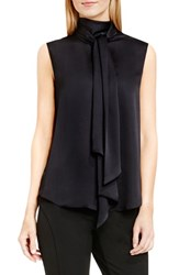 Vince Camuto Women's Sleeveless Charmeuse Bow Neck Blouse Rich Black
