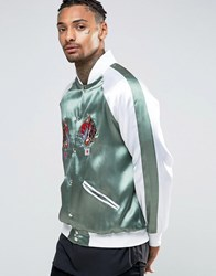 Hype Embroidered Souvenir Bomber Jacket With Koi Back Print Green