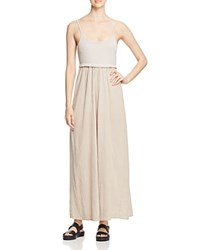 Three Dots Sarah Crinkle Maxi Dress Taupe Sand