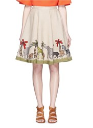 Alice Olivia 'Earla' Safari Embroidery Linen Flare Skirt Neutral Multi Colour