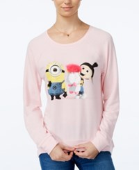 Hybrid Juniors' Despicable Me Fluffy Unicorn Graphic Sweatshirt Light Pink