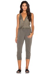 Stateside Button Front Crop Jumpsuit Olive