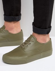 Asos Oxford Lace Up Plimsolls In Khaki Khaki Green