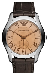 Emporio Armani Round Leather Strap Watch 43Mm Brown