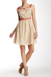 Ryu Embroidered Summer Dress Beige