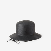 Clyde Flat Top Hat With Drawstring Black Black