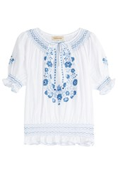 Muzungu Sisters Embroidered Cotton Peasant Top White