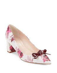 Kate Spade Madelaine Leather Floral Print Pointy Toe Pumps Plum
