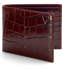 Aspinal Of London Billfold Croc Embossed Leather Wallet Amazon Brown