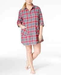 Lucky Brand Plus Size Three Quarter Sleeve Sleepshirt Plum