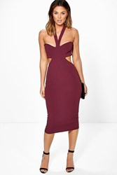 Boohoo Cut Out Side Halter Midi Dress Wine