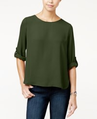 Hippie Rose Juniors' Roll Tab Blouse Forest