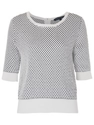 French Connection Noli Stitch Knitted Jumper Summer White Black
