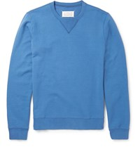 Maison Martin Margiela Leather Elbow Patch Loopback Cotton Jersey Sweatshirt Blue