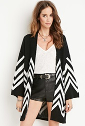 Forever 21 Chevron Patterned Cardigan Black Cream