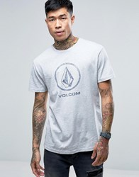 Volcom Fade Stone Large Logo T Shirt In Heather Grey Grey