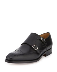 Magnanni For Neiman Marcus Double Monk Wing Tip Leather Loafer Black
