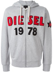 Diesel Chest Logo Zip Hoodie Grey