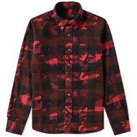 Sophnet. Camouflage Flannel Check Shirt Red