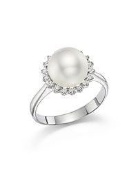 Tara Pearls 14K White Gold Natural Color White South Sea Cultured Pearl And Diamond Ring