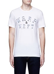 Denham Jeans 'Warp And Weft' Slogan Print T Shirt White
