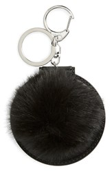 Women's Topshop Faux Fluffy Pom Key Ring With Mirror