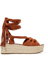 Sigerson Morrison Cosie Lace Up Suede Sandals Tan