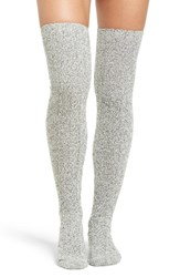 Peony And Moss Women's Marled Cable Knit Thigh High Socks Salt N Pepper