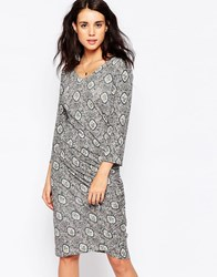 Ichi Printed Wrap Front Dress Cloud Dancer