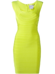 Herve Leger Fitted Bandage Dress Green
