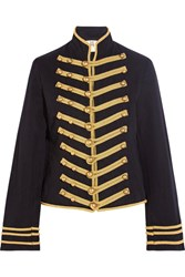 Figue Regiment Embroidered Cotton And Linen Blend Twill Jacket Midnight Blue