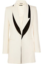 Alexander Mcqueen Satin Trimmed Wool And Silk Blend Faille Blazer Ivory