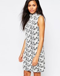 B.Young High Neck Floral Jacquard Dress Off White